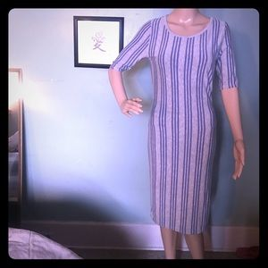 LuLaroe Julia Gray & Blue Striped Knit Dress Sm